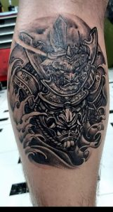 Start of a leg sleeve, done by Nunu @ Starcat Tattoo in Koh Samui Thailand