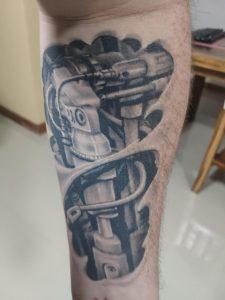 My (well healed) biomech tattoo. It's my arm (yeah I know it looks like my leg, but I'm buff as f@ck 😂)