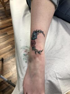 My first Friday the 13th tattoo from an amazing artist in Seattle! Crescent moon made of beautiful plant life! Planning on getting a matching North Star on the opposite leg!