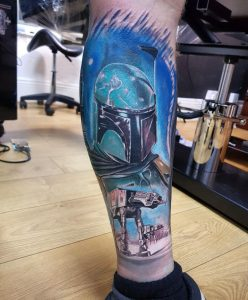 Boba Fett by Pedro Van Diesel @Redmoon tattoo Northampton UK..... The other side to the previous post of Kylo Ren, half leg sleeve of star wars