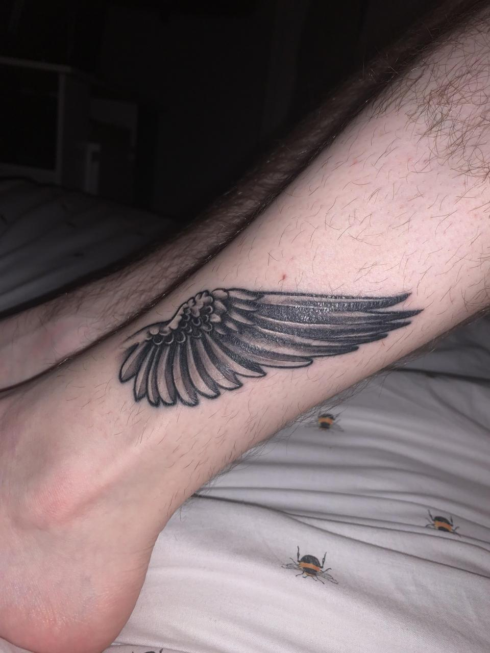 Hermes inspired wing tattoos (mirrored on other leg) done by Deco @ Kaizen Tattoos and Piercings in Cumbernauld