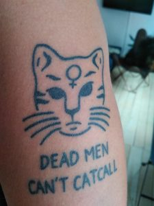 Truth-speaking cat on my arm, by Lucifero Tattoo, Copenhagen. About a year old.