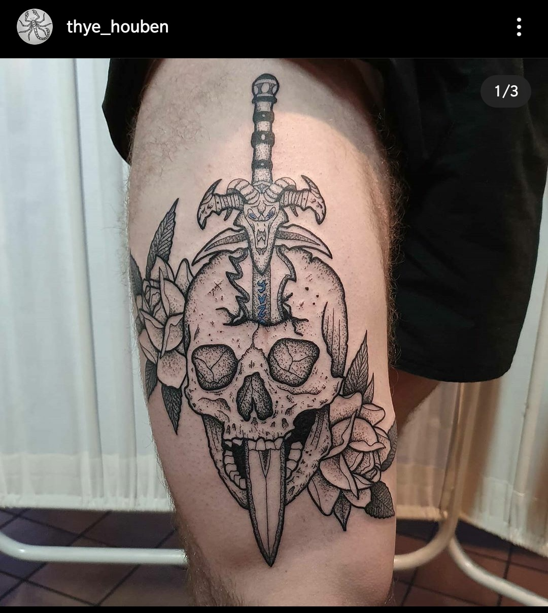 New tattoo on my upper leg, skull with a frostmourne.
