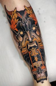 Demon face by Toni Donaire @ Bhorn Tattoo, Barcelona, Spain. Left leg, one long session (picture from last summer).