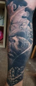 Healed photo of my Late hedgehog Spike. Part of a British wildlife nature sleeve on my leg! Done by Jess Owens at The Drawing Room. Huddersfield UK