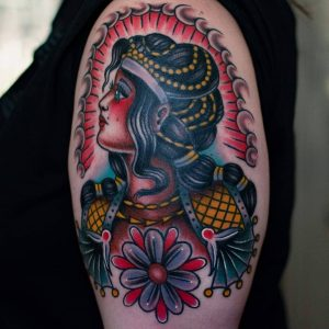 Arm will be full of art history inspired tattoos - first is an homage to the ancient Minoans. Love how it came out! Done @ Black Moon Tattoo in Madison, WI