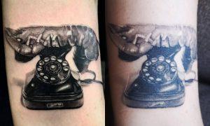Salvador Dalí Lobster Telephone by Vladimir Vujasinović at Aggy's Ink (arm) FRESH vs ONE MONTH HEALED