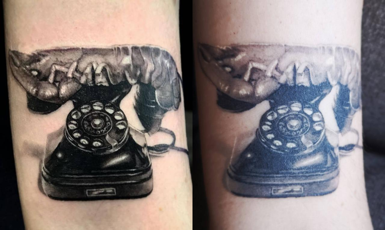 Salvador Dalí Lobster Telephone by Vladimir Vujasinović at Aggy's Ink (arm) FRESH vs ONE MONTH HEALED