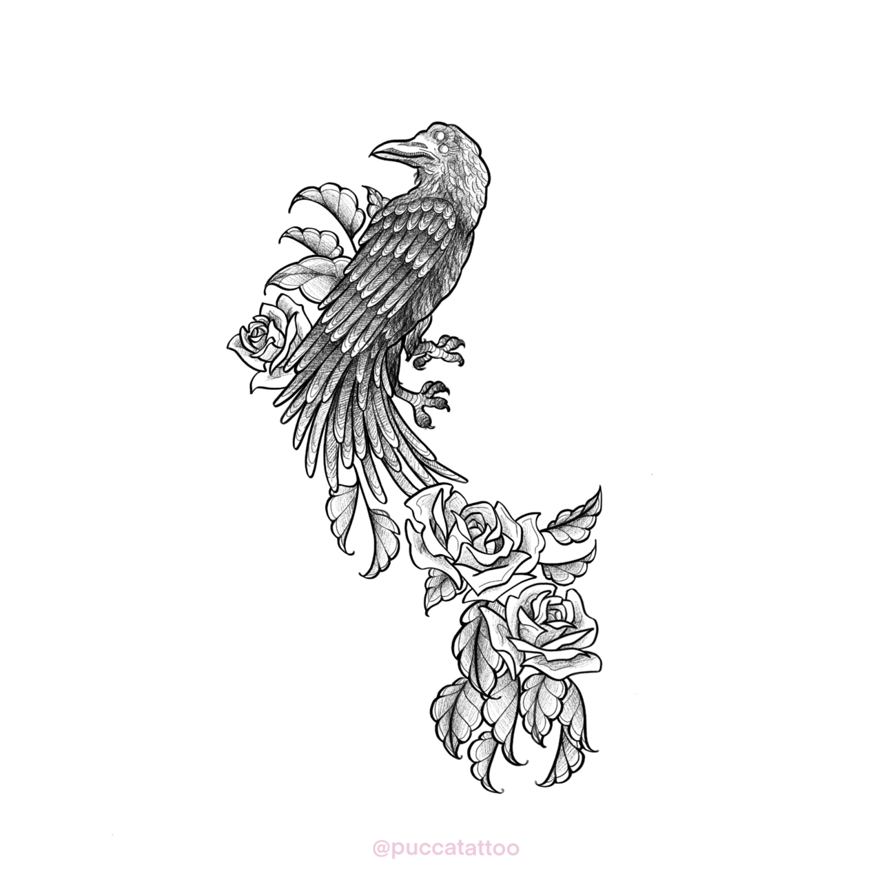 [For Hire] Crow tattoo design I've made for a half sleeve. I'm open for comissions!