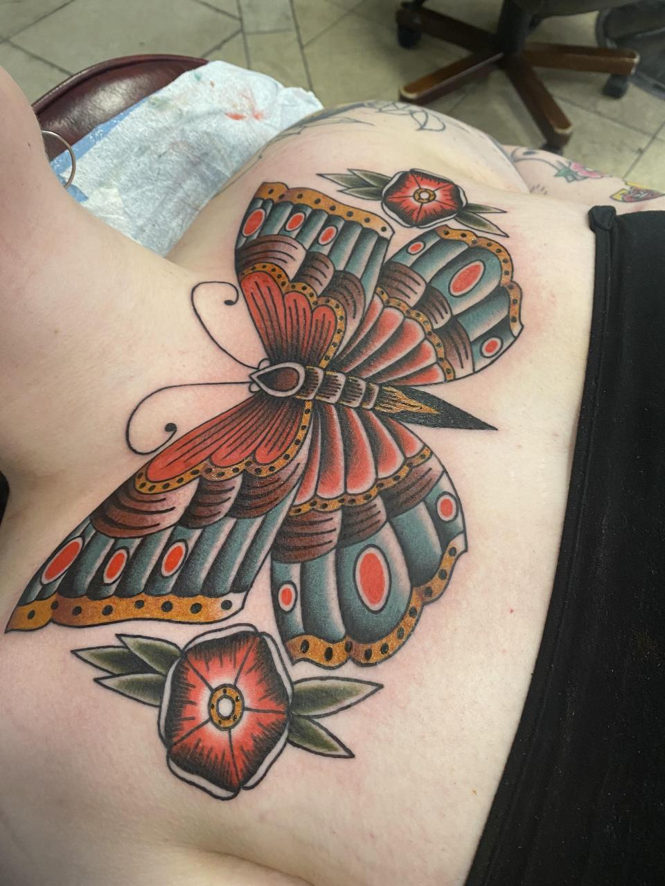 Traditional Butterfly chest tattoo done by CJ Scesa in Ft. Lauderdale, Florida