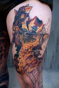 Ragnaros - WoW Leg Sleeve; Artist - Cory Cartwright: Impluse Ink, Atlanta, GA