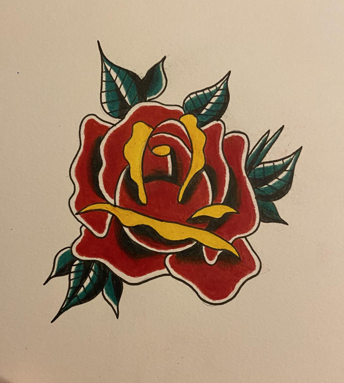 I drew a traditional style rose with Prismacolor pencils!
