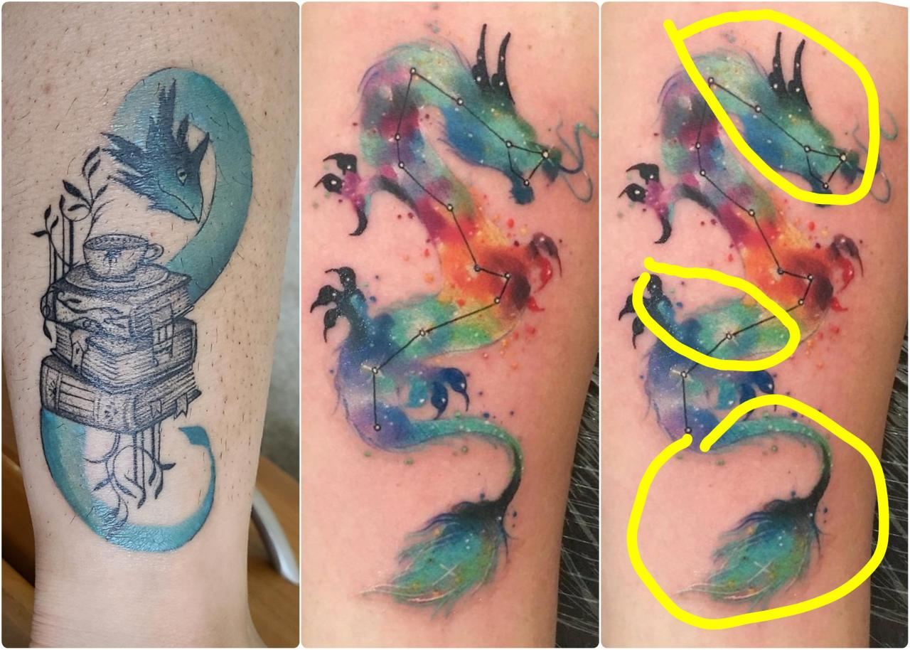 """Would it be possible to create a """"nebula"""" effect on an existing tattoo, in general & for this particular one? The desired colors would just be white and lighter/darker versions of the existing color (circled in yellow)"""