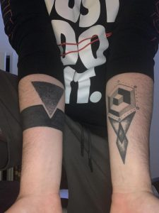 My special shapes done by Jay Fish at Acme Tattoo in Louisville! Looking for a similar style on my leg, any ideas?