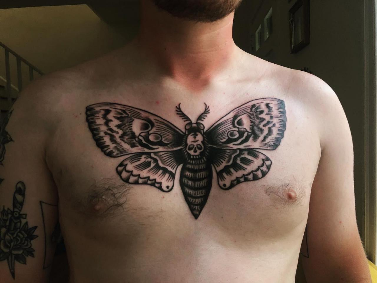 Death's-Head Hawkmoth chest tattoo done yesterday. By Vincent Rizzo at Classic 13 in Birmingham AL