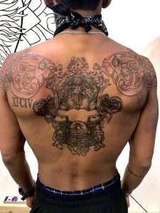 Cambodian inspired back piece done by Becki Wilson @ Hades inquisitions in Brooklyn NY