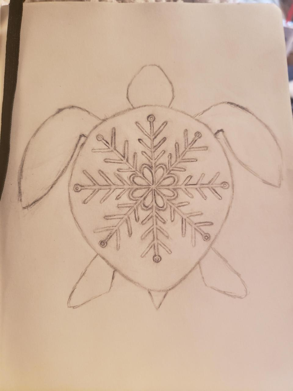 This is my snow turtle sketch! If anyone has advice on the sketch or wants to redo it in their style, I would love to see it! Also, where do you think this would look good as a tattoo?