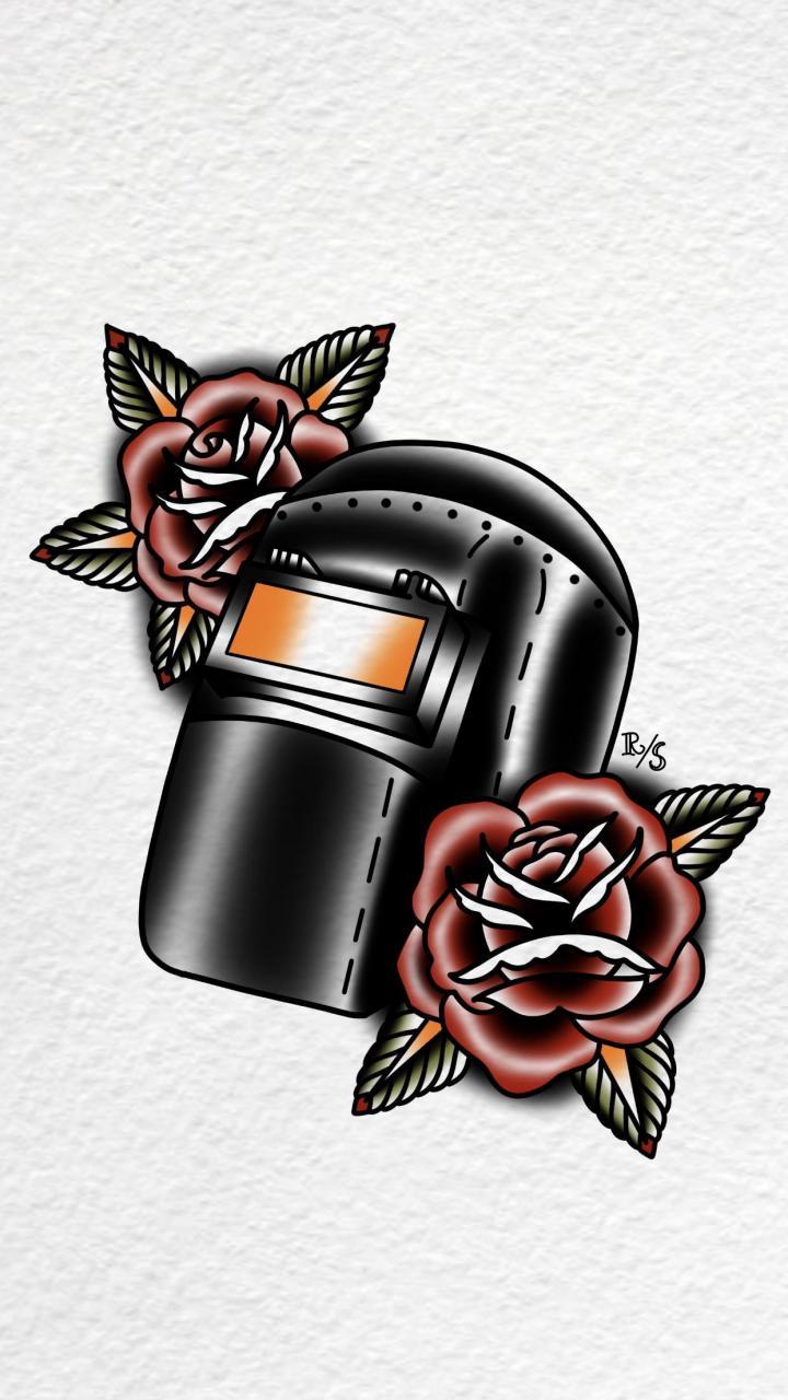 Traditional welder helmet. On IG @rustyshackleferdd