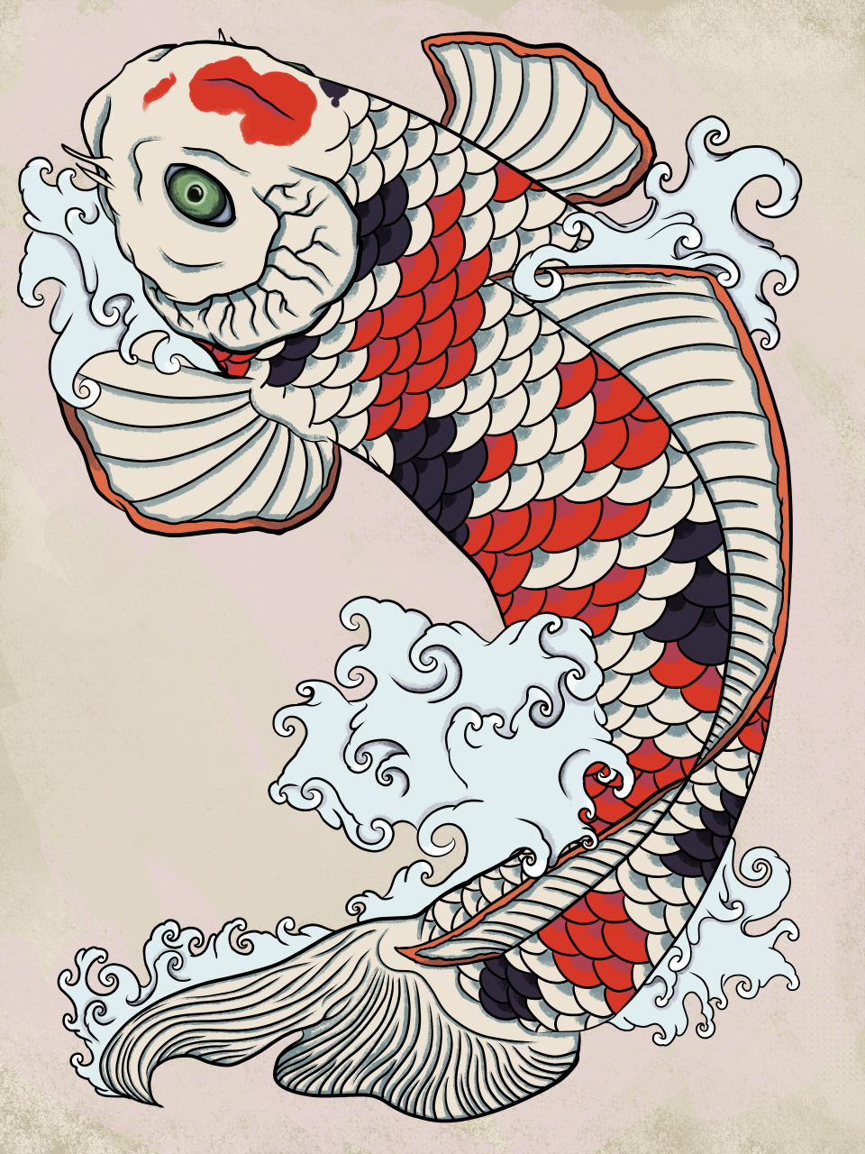 One of my best attempts at doing an irezumi-style koi carp