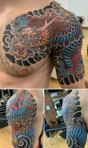 Traditional Japanese dragon half sleeve/chest panel. Chris Lombardi, Hand of Doom Tattoos, Buffalo NY