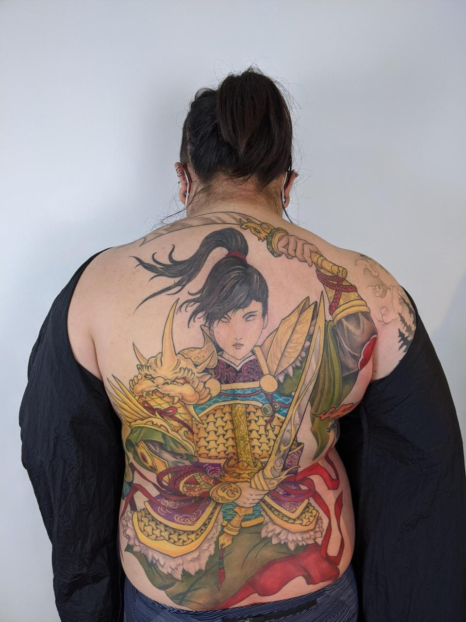 Warrior back piece by Marilyn Nguyen from Toronto, Canada (@marilyn_tattoos)