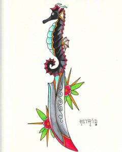 Seahorse handle knife, traditional tattoo design