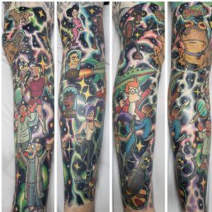 Futurama theme half leg sleeve tattoo by James Mullin at Lotus Tattoo, Hemet, CA