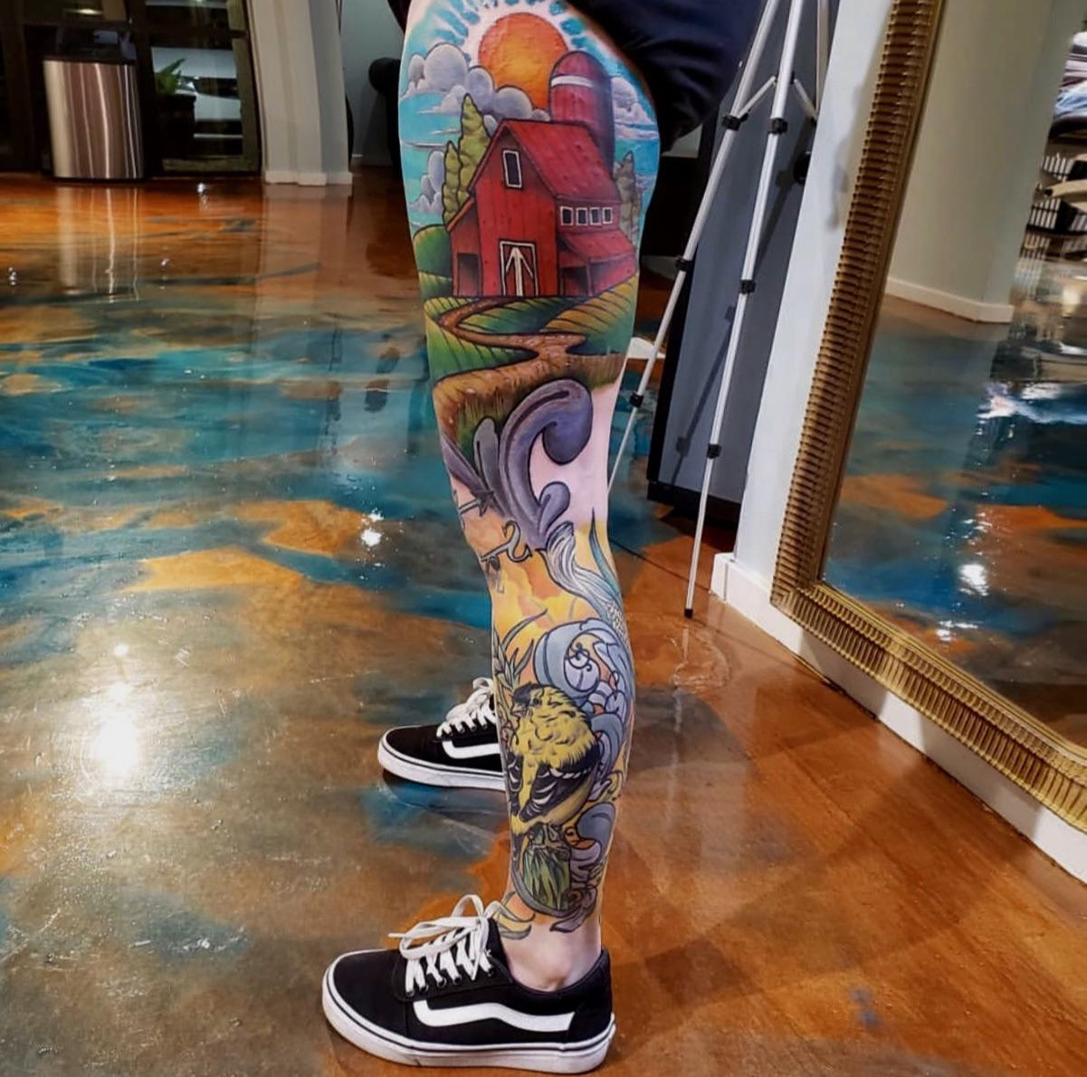 Part of my leg sleeve done by Nathan Zerbach at Sentient Tattoo Collective