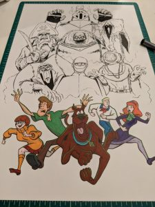 Started coloring the the gang for this Scooby Doo Tattoo design. See it finished on Instagram @Mr.Grumble_Art.