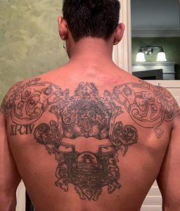 Unfinished- somewhat healed Cambodian back piece. Done by Becki Wilson at Hades Inquisition in Brooklyn NY