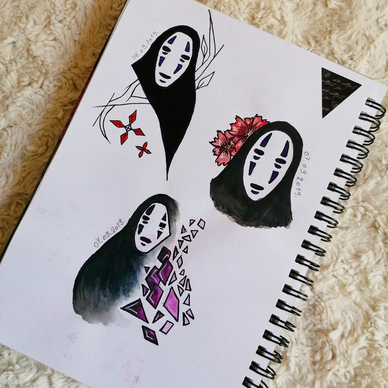 No Face tattoo ideas that I did for my friend a while ago. They definitely need some polishing but I like them.