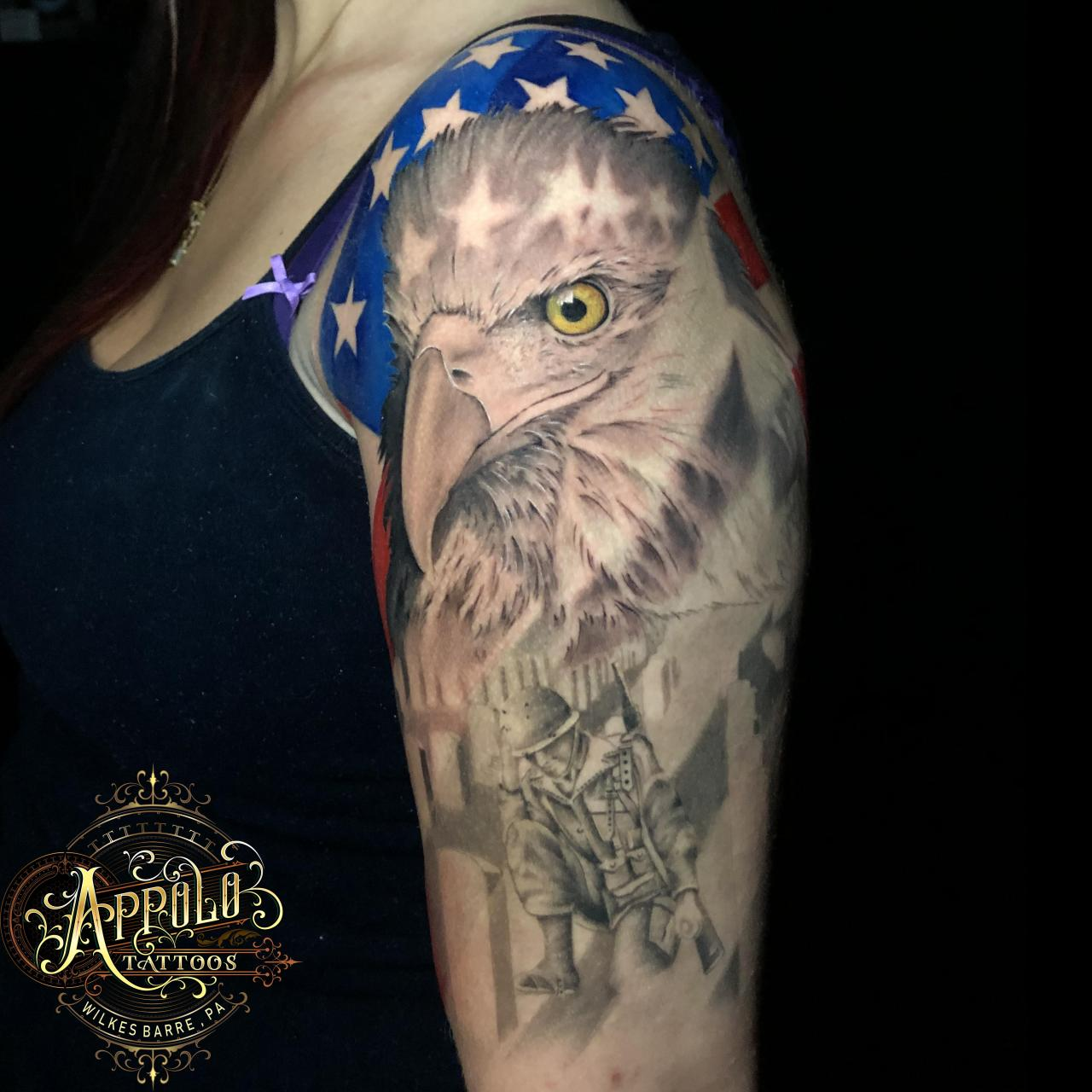 Murica' Tattoo by Appolo out of Wilkes Barre, PA! Top Fresh Bottom 6 months Healed!