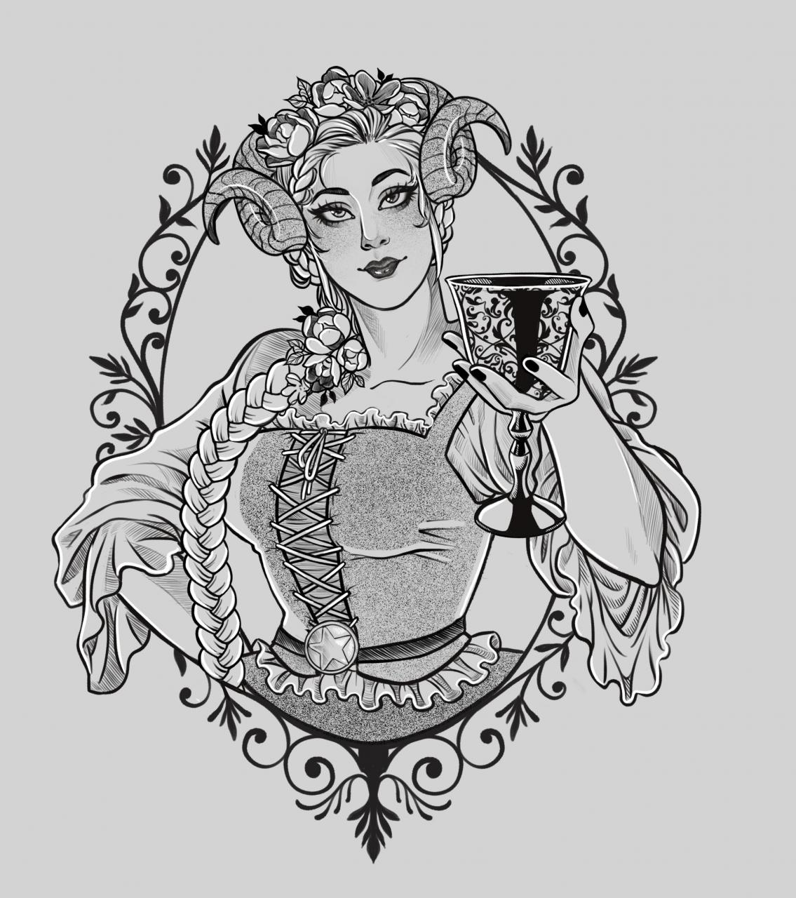 [For hire] Tattoo designs for hire! I work mostly with florals, girls, pets, creatures/fantasy and anime. Portfolio in the comments!