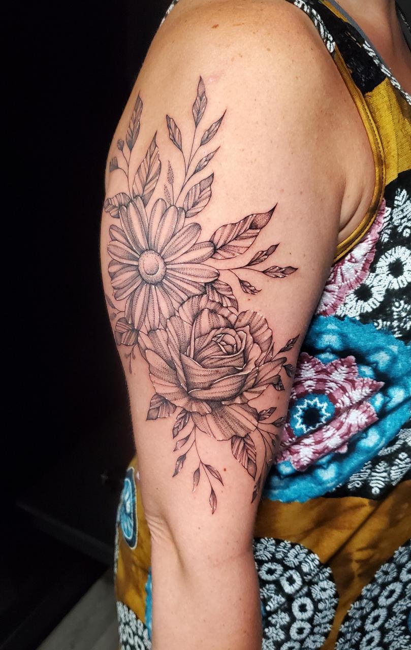 Floral arm wrap done by me, Jennifer Jackal, at International Ink in Stevens Point, WI