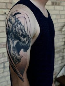 Half fresh half healed dragon started back in January by Max LaCroix from Empire Inks Studio in Appleton, WI