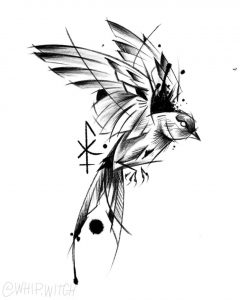 Blackwork swallow