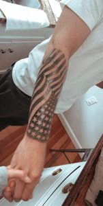 Old pic... flag tat that I got done two months back.... Ive been having severe ingrown hairs on my arm ever since then... Any advice? Never had a problem before with them.