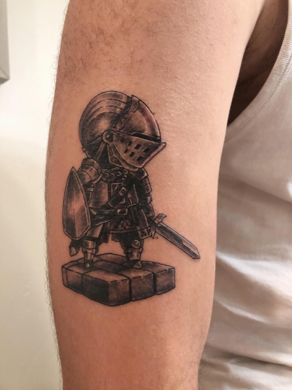 Dark Souls Elite Knight on my right arm by Pete. Talon Tattoo in Boise Idaho