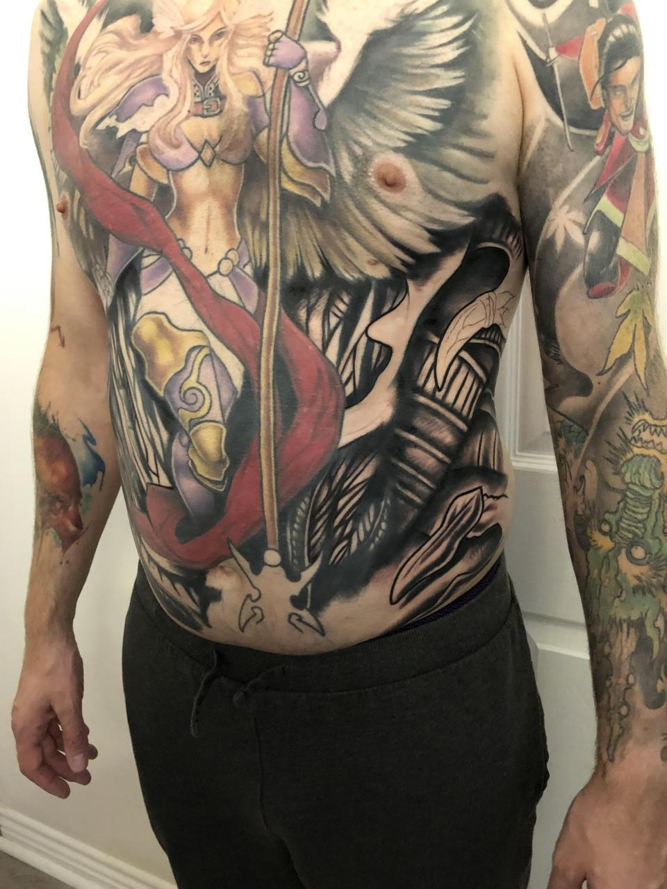 Chest piece - in progress. Paul Vander-Johnson, UK