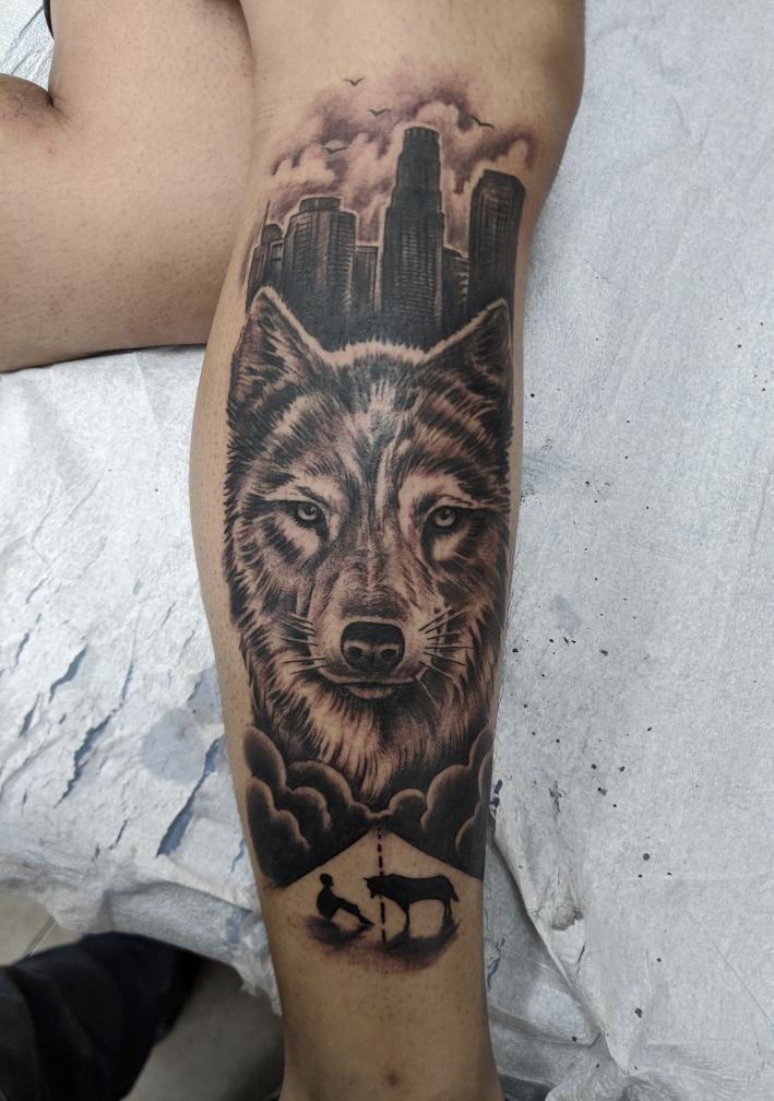 Looking for an artist to add onto my half leg sleeve! Possibly on my shin or on my calf that will collide with my first piece. Thank you!