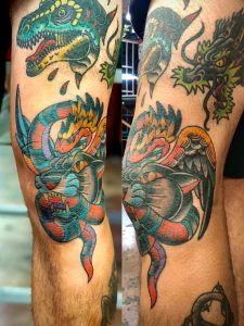 Filling the leg with monsters, the most recent being the panther and serpent. All done by Bear Jeter at Cactus Tattoo Parlor in Cathedral City, CA.