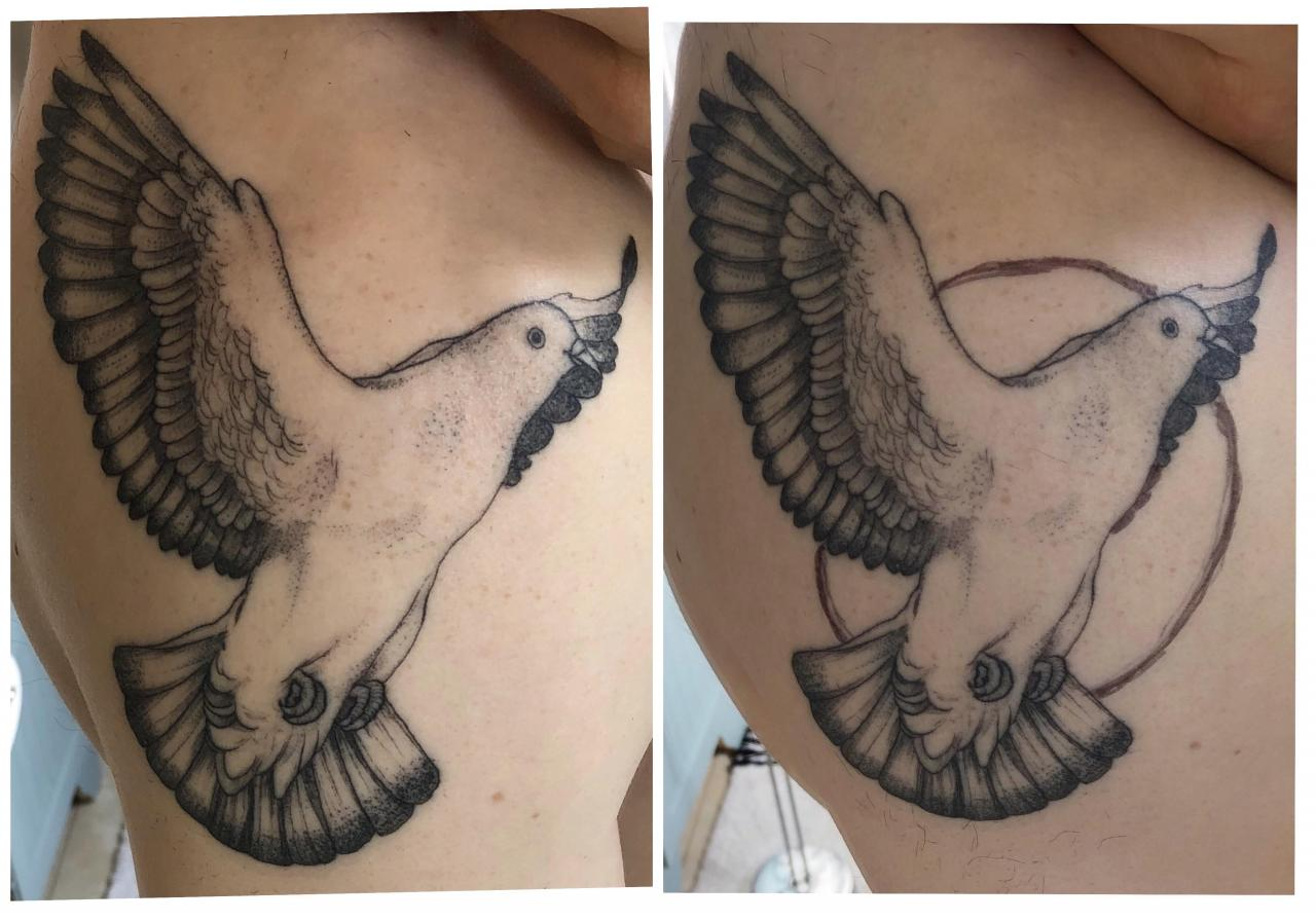 Here's my idea for improving a tattoo I got a few months ago. Would a few extra feathers sticking out from the wing in the background make the perspective make more sense? Also thinking about more shading/detail work.
