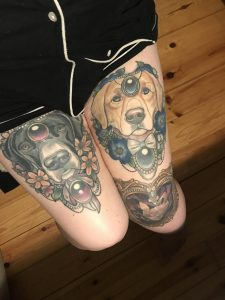 Sharing My Legs (work by Arielle Gagnon out of Deathless Tattoos, near MontrMontreal QC). Not the best photos as Winnie (black dog) looks HELLA walleyed in this one but meh