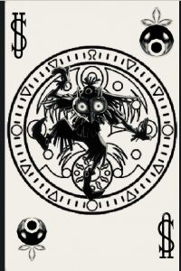 Ok, so I suck at designing, would love some help! I created this using photoshop on my phone, my idea being a joker playing card that is Majora's mask themes with the skull kid at the center. I'd like help figuring how to make this into a real tattoo design, suggestions?