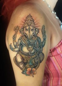 Ganesh by Woodrow Wilson Cowher at Bulldog Custom Tattooing in East Palestine, OH