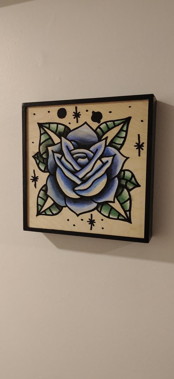 "Blue Rose. 9"" x 9"" Wood panel."