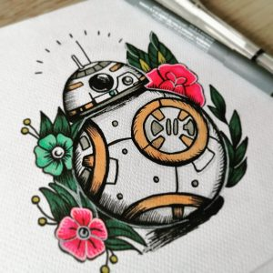 Tattoo design I made of BB8, thought I'd share