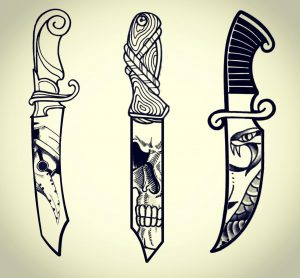 Working on some neo-trad tattoo designs, drawn first then finished on Photoshop
