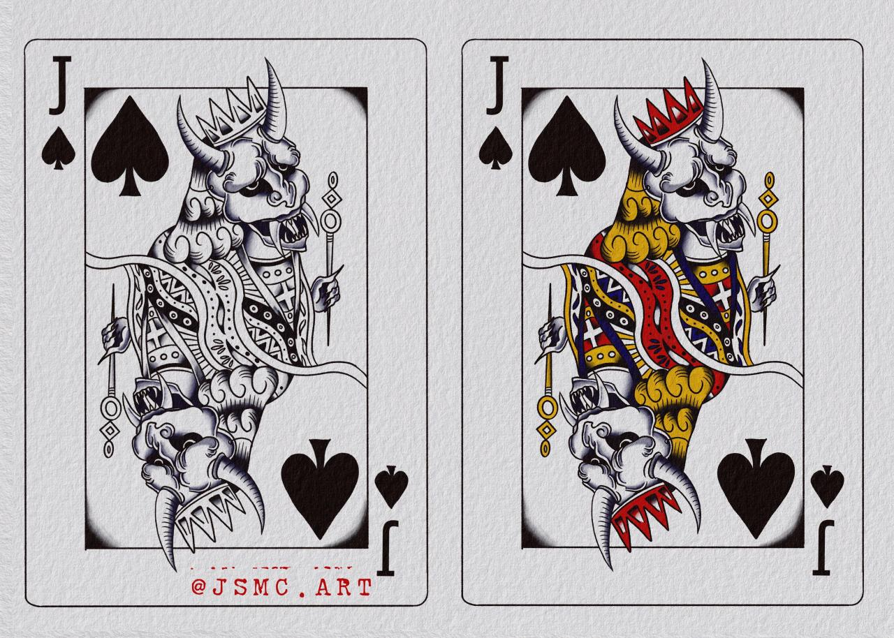 Oni Playing Card Commission, would love to do more like this!