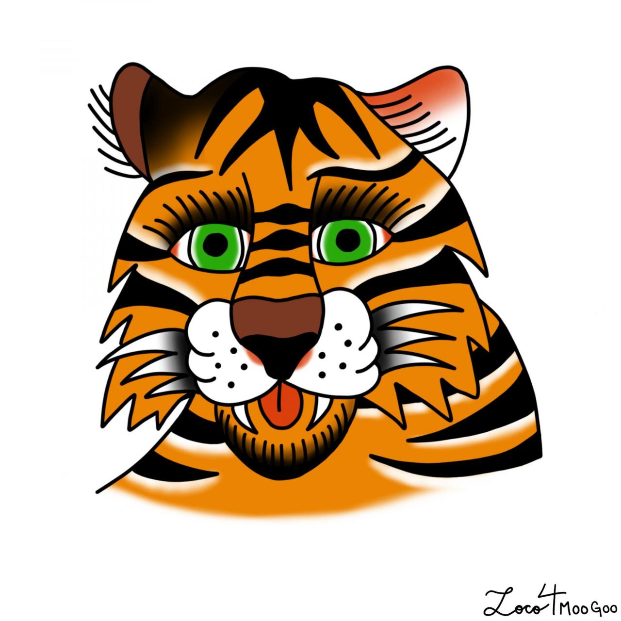Tiger head I designed today on Procreate! Beginner artist open to critiques.